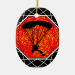 THIS SKYDIVING SET Double-Sided OVAL CERAMIC CHRISTMAS ORNAMENT
