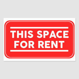 this space for rent rectangular sticker