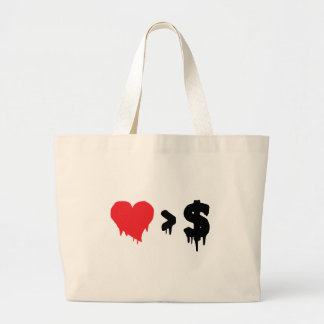 This t, love greater than money tote bag