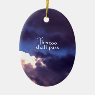 This too shall pass Double-Sided oval ceramic christmas ornament