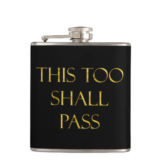 This Too Shall Pass Quote Gold Faux Glitter Flask