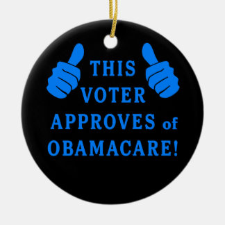 THIS VOTER Approves of Obamacare Double-Sided Ceramic Round Christmas Ornament