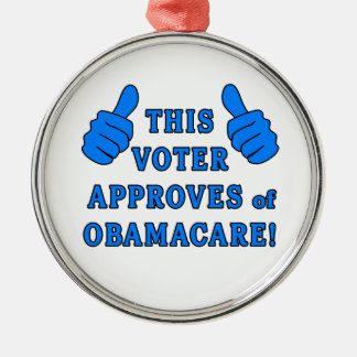 THIS VOTER Approves of Obamacare Round Metal Christmas Ornament