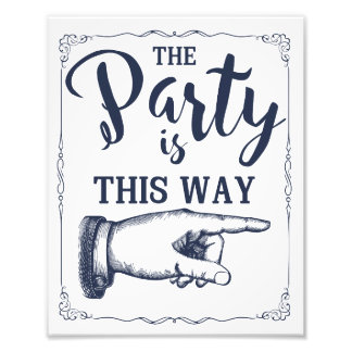 This way party wedding sign right arrow