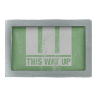 This way up sign belt buckle