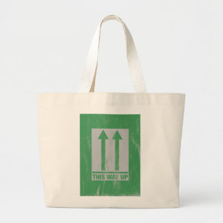 This way up sign large tote bag