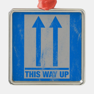This way up sign metal ornament