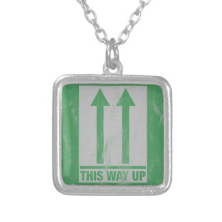 This way up sign silver plated necklace