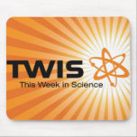 "This Week in Science Mousepad<br><div class=""desc"">Put your mouse on us! This mousepad screams your love for TWIS with our bright orange logo.</div>"