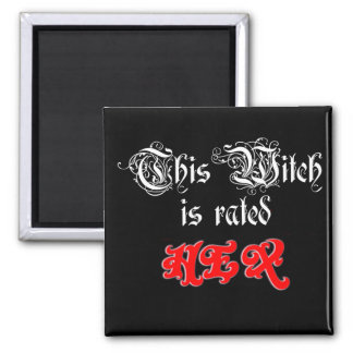 This Witch is Rated Hex Pagan Humor 2 Inch Square Magnet