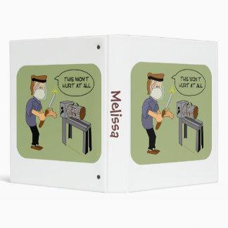 This Won't Hurt Funny Woodturning Cartoon 3 Ring Binder