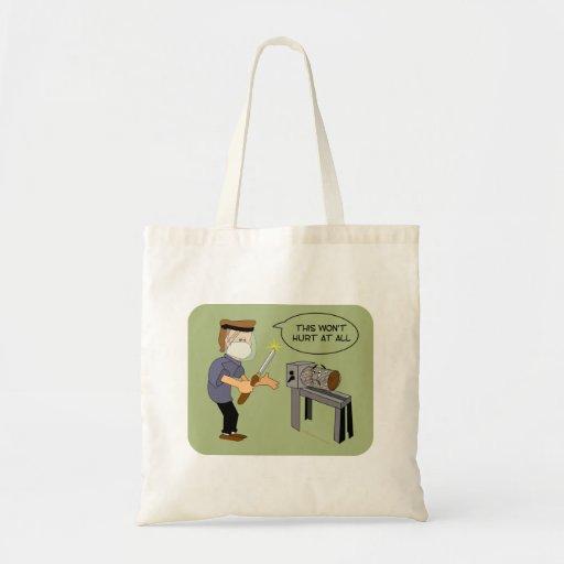 This Won't Hurt Funny Woodturning Cartoon Budget Tote Bag