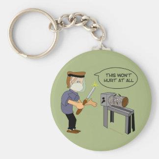 This Won't Hurt Funny Woodturning Cartoon Keychain