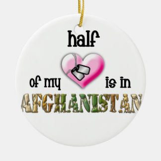 This year Half of my heart is in Afghanistan Double-Sided Ceramic Round Christmas Ornament