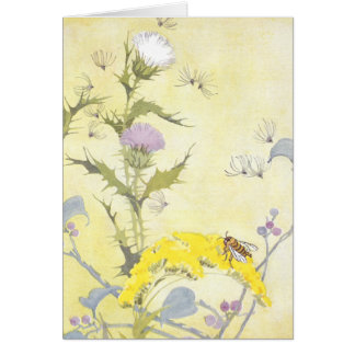 Thistle and Bee on Goldenrod Card