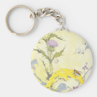 Thistle and Bee on Goldenrod Keychain