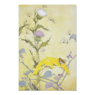 Thistle and Bee on Goldenrod Posters
