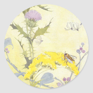 Thistle and Bee on Goldenrod Round Sticker