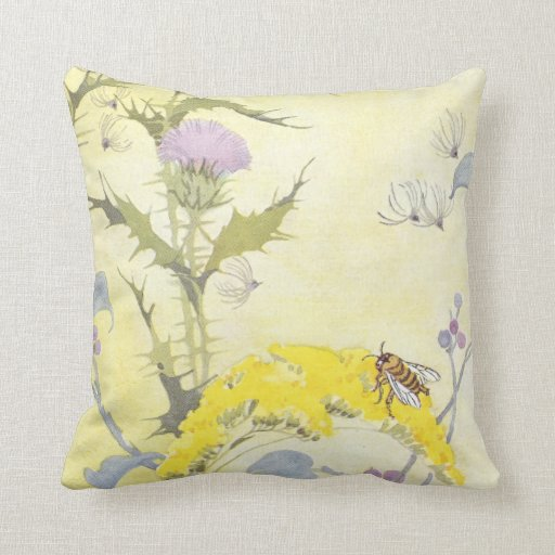 Thistle and Bee on Goldenrod Throw Pillow Zazzle