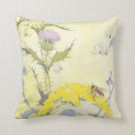 Thistle and Bee on Goldenrod Throw Pillow