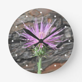 Thistle Bloom in Front of Fallen Tree Round Wall Clocks