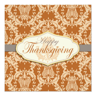 Thistle Damask Thanksgiving Personalized Invite