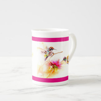 """""""Thistle for Two"""" Hummingbird Print Tea Cup"""