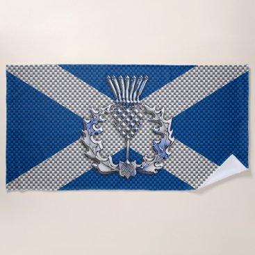 Beach Themed Thistle on Carbon Fiber Print on Scotland Flag Beach Towel