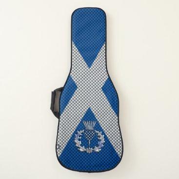 Beach Themed Thistle on Carbon Fiber Print on Scotland Flag Guitar Case