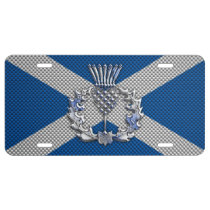 Thistle on Carbon Fiber Print on Scotland Flag License Plate