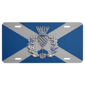 Thistle on Carbon Fiber Print on Scotland Flag License Plate