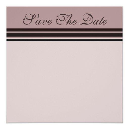 thistle plum striped Save the Date 5.25x5.25 Square Paper Invitation Card