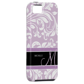Thistle Purple and white floral damask w/ monogram iPhone 5 Case