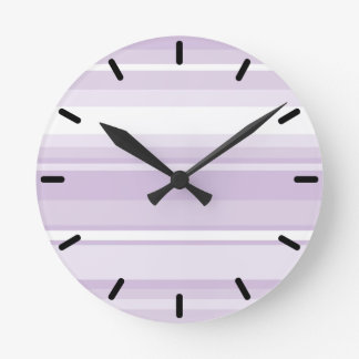 Thistle purple stripes round clock