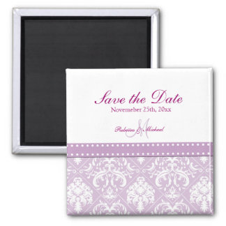 Thistle Purple & White Damask Save the Date 2 Inch Square Magnet