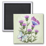 Thistles and Butterflies 2 Inch Square Magnet