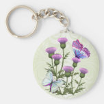 Thistles and Butterflies Basic Round Button Keychain