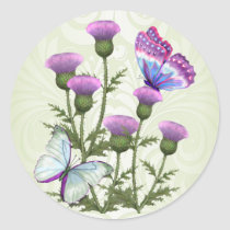 Thistles and Butterflies Classic Round Sticker