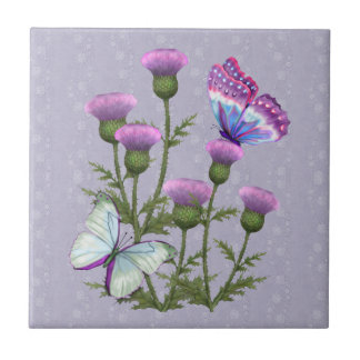 Thistles and Butterflies on Mauve Small Square Tile