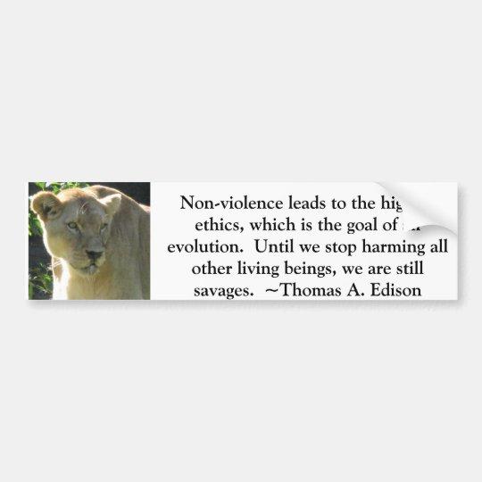 Thomas A. Edison Animal Rights quote Bumper Sticker