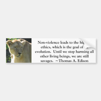 Thomas A. Edison Animal Rights quote Car Bumper Sticker