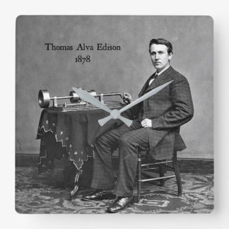 Thomas Alva Edison, 1878 Square Wall Clock