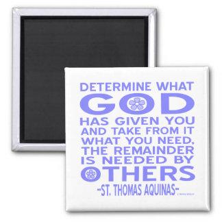 Thomas Aquinas God Given Light Blue 2 Inch Square Magnet