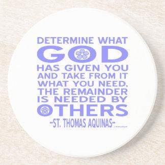 Thomas Aquinas God Given Light Blue Drink Coaster
