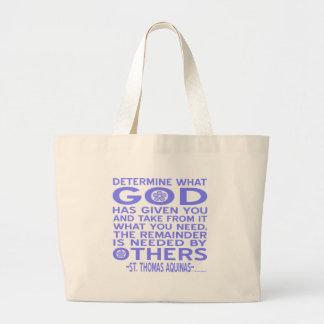Thomas Aquinas God Given Light Blue Large Tote Bag