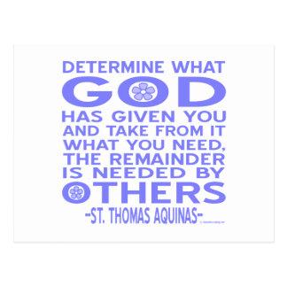 Thomas Aquinas God Given Light Blue Postcard
