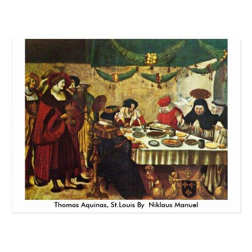 Thomas Aquinas, St.Louis By German Niklaus Manuel Postcard