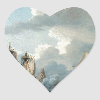 Thomas Birch The Macedonian and the United States Heart Sticker