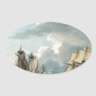 Thomas Birch The Macedonian and the United States Oval Sticker