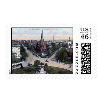 Thomas Circle, Washington DC 1910 Vintage stamp